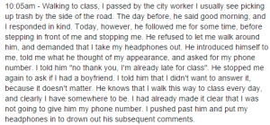 Harassment FB post