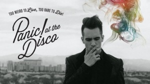 Panic at the Disco's lead singer Brendon Urie on the cover of the band's latest album